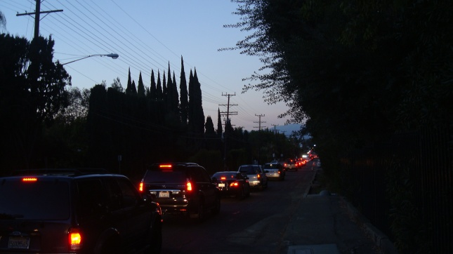 Traffic on Coldwater Canyon heading towards Ventura Blvd., just after six pm on a Wednesday evening.