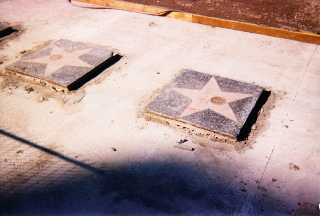 The Walk of Fame during construction.