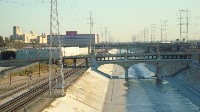 The river heading out of Downtown LA, on its way to Long Beach