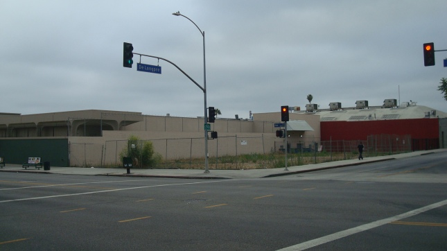 A recent shot of the site from the corner of Vine and De Longpre