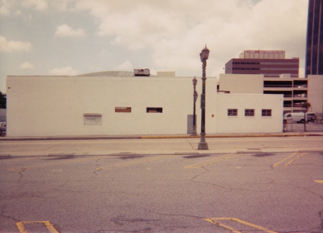This was taken from the parking lot behind the Dome, facing west.  The site just across the street is where Amoeba now stands.