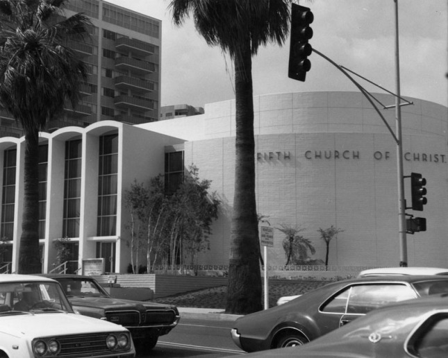 Fifth Church of Christ, Scientist seen from Hollywood Blvd. circa 1977