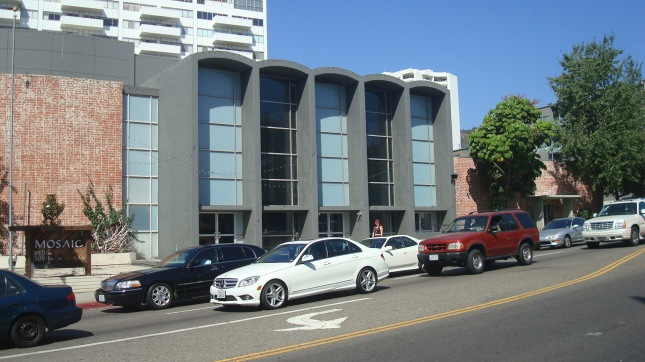 a view of the church from La Brea Ave.