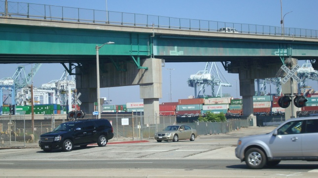 A view of the Vincent Thomas Bridge from Harbor Boulevard.
