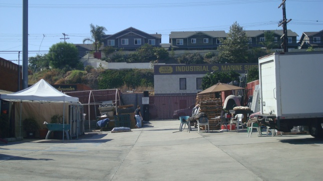 Houses on a hill overlooking Harbor Boulevard.