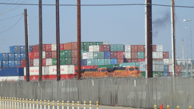 Stacks of containers seen from Harbor Boulevard.