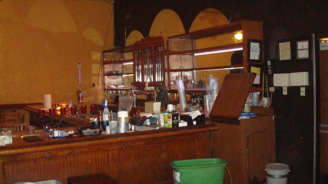 The deserted bar.