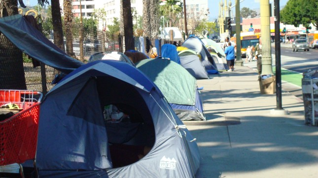 A tent settlement in Downtown LA
