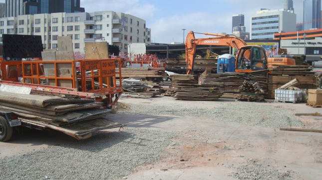 Material and equipment stored on the site at First and Central