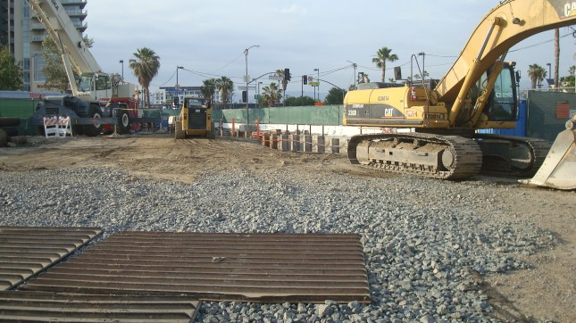 Construction of subterranean tunnel in North Hollywood