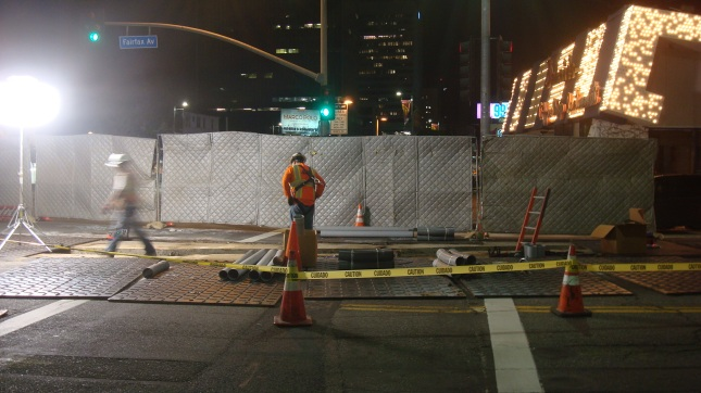 Crews working through the night at Wilshire and Fairfax