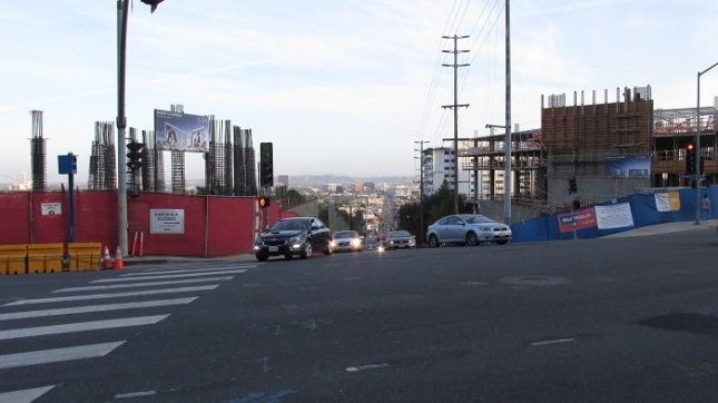 Looking down La Cienega from Sunset