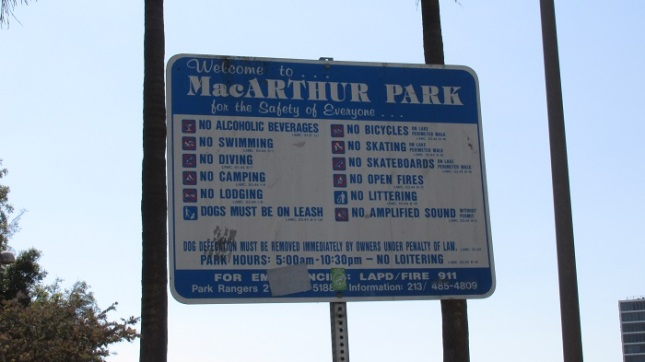 Sign posted inside the park.