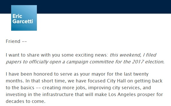 E-mail sent announcing Garcetti's re-election campaign