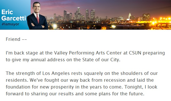 E-mail sent by the Mayor regarding his State of the City speech