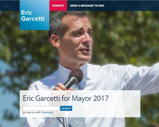 Screen shot from web site for Garcetti's 2017 campaign