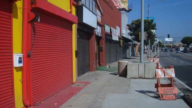 Shuttered businesses on Crenshaw Blvd..