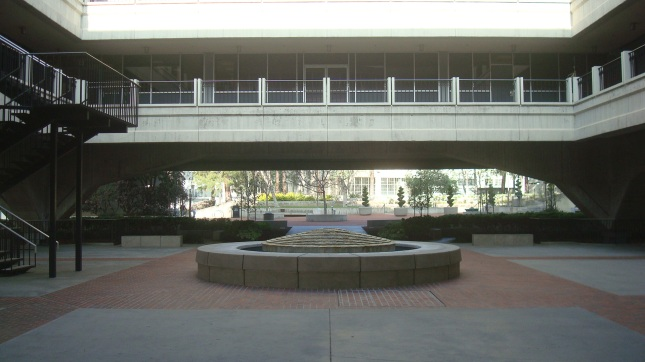 The fountain at the center of the courtyard.