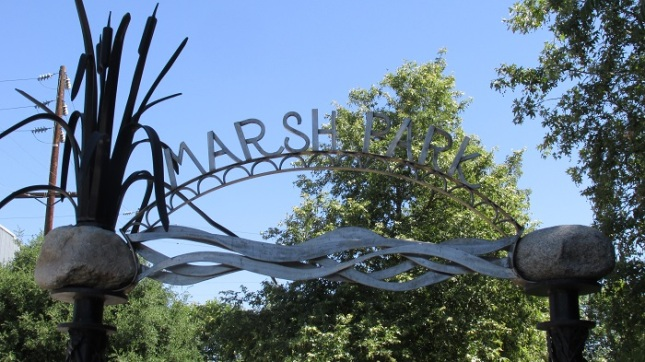 The entrance to Marsh Park.