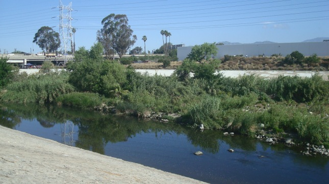 A shot of the river with the freeway in the background.