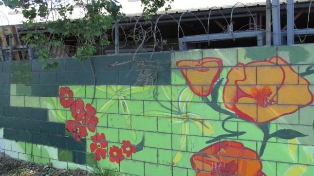 An artist's effort to beautify a wall.