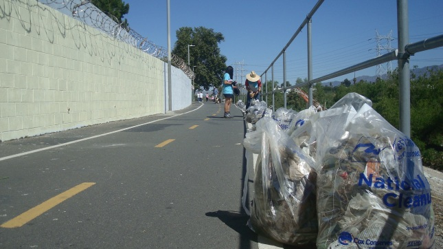 When the bags were full, we left them along the bike path.