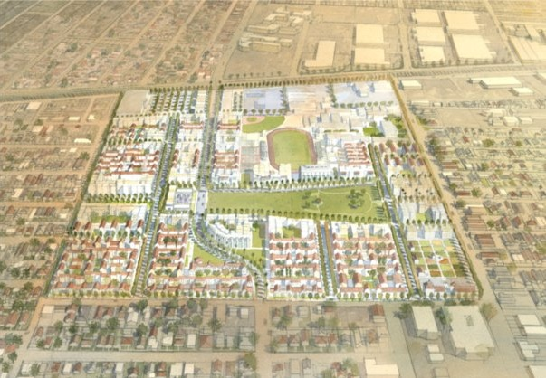 Aerial view of proposed Jordan Downs redevelopment project.