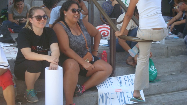 Another shot of protesters on City Hall steps.
