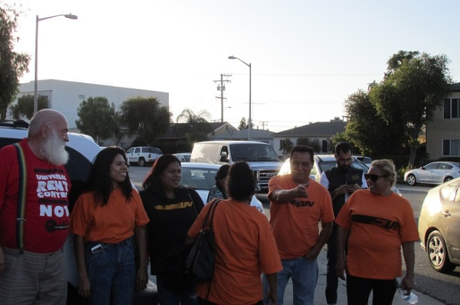 Members of Union de Vecinos and the LA Tenants Union at a gathering on Thursday.