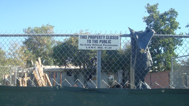 Notice outside of vacant homes on Roscoe Blvd. in Panorama City.