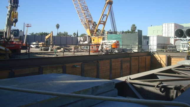 Construction site for Purple Line extension at Wilshire and La Brea.