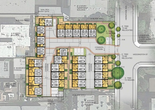 The City Council's PLUM Committee has approved turning over the west end of Weddington to the developer.