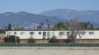 A view of the San Gabriel Mountains in the distance.