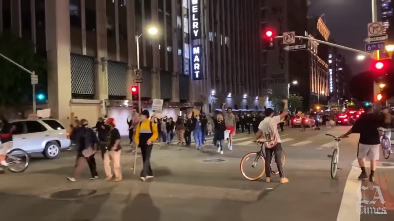 Dntn Protest Floyd Killing from LA Times Video 200529