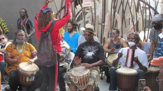 Drummers are a fixture in Leimert Park.