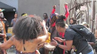 Dancers grooving to the rhythms.